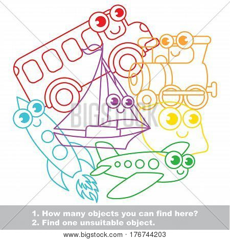 Funny toy transport mishmash set in vector outlined to be colored. Find all hidden objects on the picture. Easy educational kid game. Simple level of difficulty. Visual game for children. stock photo
