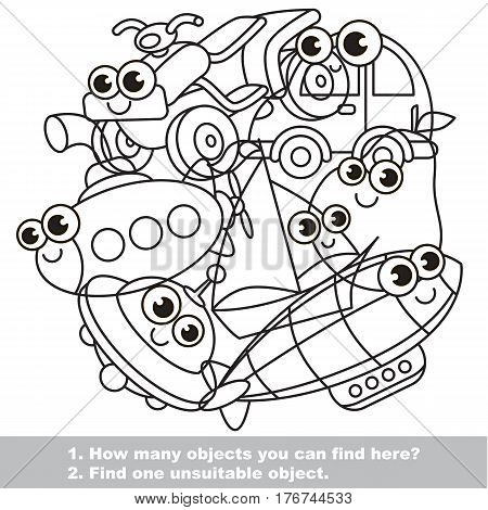 Cute toy machines mishmash set in vector outlined to be colored. Find all hidden objects on the picture. Easy educational kid game. Simple level of difficulty. Visual game for children. stock photo