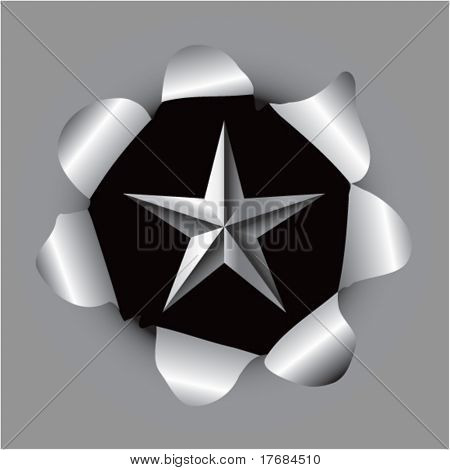 star icon coming out of paper hole stock photo