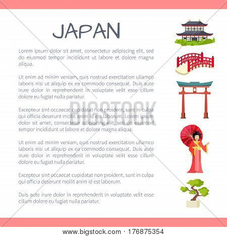 Japan touristic banner with national symbols and sample text. Japanese cultural, architectural and nature attractions flat vector illustration. Vacation in exotic country concept for travel company ad