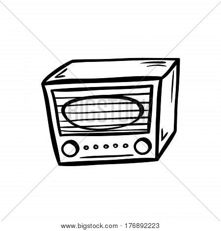 Retro radio in doodle style. Hand drawn vector illustration isolated on white. stock photo
