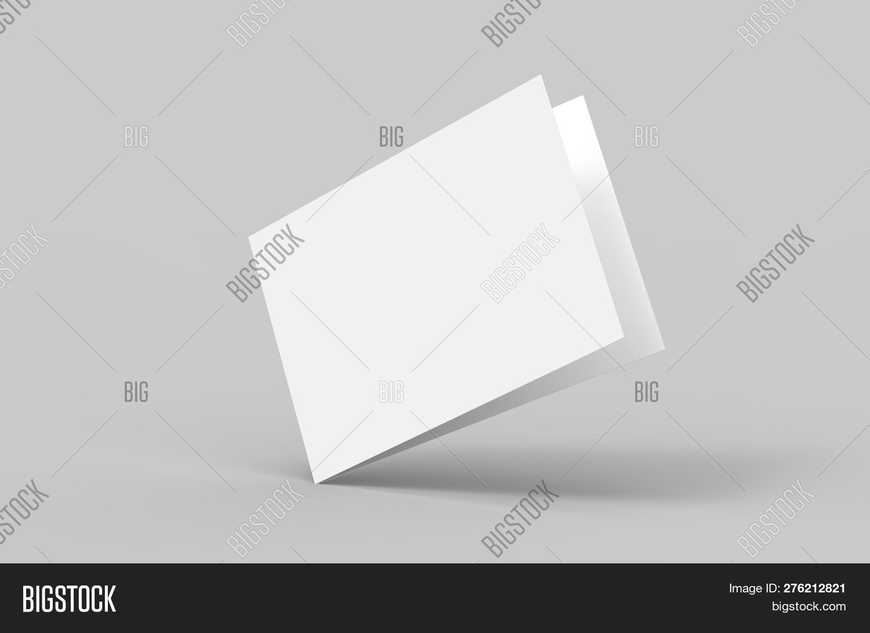 Blank White Postcard Flyer Mock Up Presentation, Postcard Invitation Booklet Template, 3d Illustrati