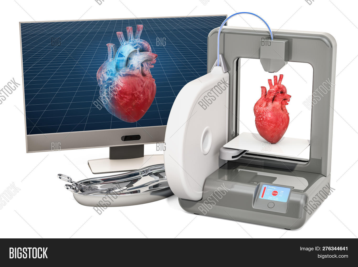 Creating Artificial Heart On Three Dimensional Printer, 3d Printing In Medicine Concept. 3d Renderin