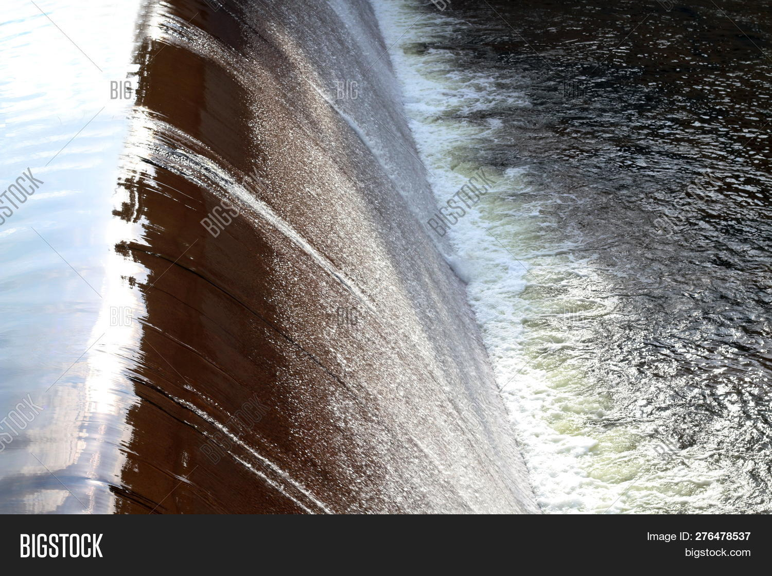 Dam Water Flow, Surface Flow, Flowing Water At Small Water Reservoir, Rural Water Retention Dam, Spl