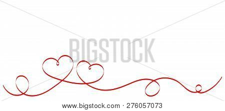 Calligraphy Red Heart Ribbon on White background. Red curved band with two hearts. Valentines day Romantic greeting card with stripes.  Mother's day vector design. Wedding invitation card elements. stock photo