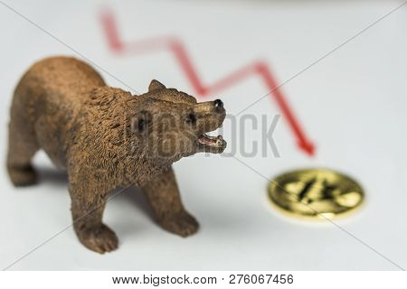 Bear With Gold Bitcoin Cryptocurrency and red graph. Bear Market Wall Street Financial Concept. stock photo