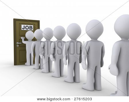 3d people in line waiting for job interview stock photo