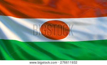 Niger flag. Waving flag of Niger 3d illustration. Niamey stock photo