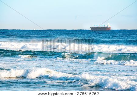 Wild waves and blue sky. Gangwon-do Beach, Republic of Korea. stock photo