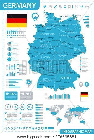 Germany Map - Blue Infographic - detailed vector illustration stock photo