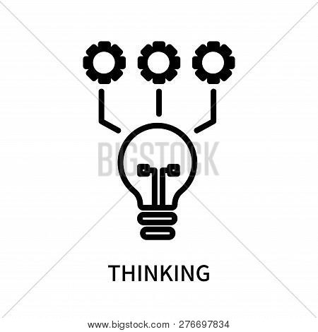 Thinking icon isolated on white background. Thinking icon simple sign. Thinking icon trendy and modern symbol for graphic and web design. Thinking icon flat vector illustration for logo, web, app, UI. stock photo