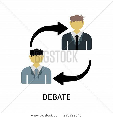 Debate icon isolated on white background. Debate icon simple sign. Debate icon trendy and modern symbol for graphic and web design. Debate icon flat vector illustration for logo, web, app, UI. stock photo