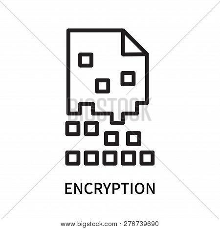 Encryption icon isolated on white background. Encryption icon simple sign. Encryption icon trendy and modern symbol for graphic and web design. Encryption icon flat vector illustration for logo, web, app, UI. stock photo