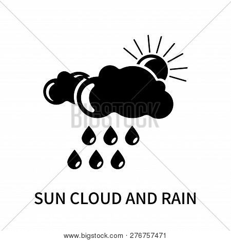 Sun cloud and rain icon isolated on white background. Sun cloud and rain icon simple sign. Sun cloud and rain icon trendy and modern symbol for graphic and web design. Sun cloud and rain icon flat vector illustration for logo, web, app, UI. stock photo