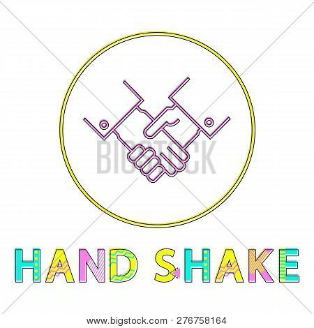 Round framed partnership hand shaking color lineout icon. Deal or agreement, teamwork or greeting sign vector illustration for isolated on white. stock photo