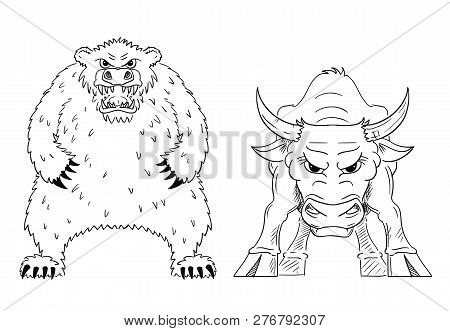 Cartoon drawing conceptual illustration of bull and bear as symbols of rising and falling market prices. stock photo