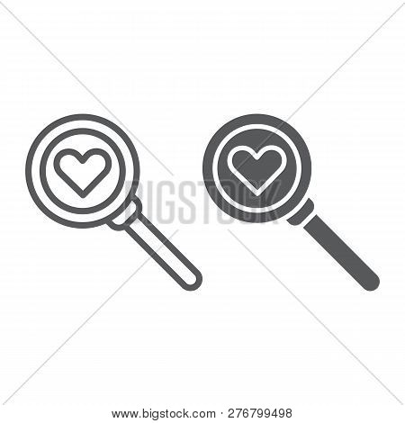 Searching for love line and glyph icon, amour and lens, magnifying glass sign, vector graphics, a linear pattern on a white background. stock photo