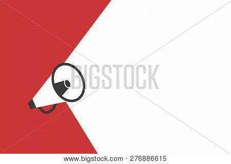 Flat design business Vector Illustration Empty copy space text for Ad website promotion esp isolated Banner template Megaphone Announcing Loudspeaker Sound System Handheld Amp Equipment stock photo