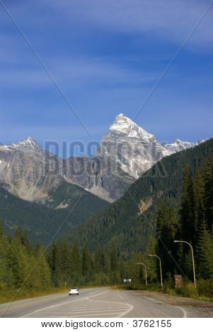 Mt Sir Donald with blue sky Rogers Pass Yoho National park Canadian Rockies Revelstoke British Columbia Canada stock photo