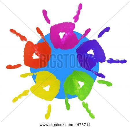 colorful finger painted hands symbolizing youthful attitude with blue circle behind showing world multicultural diversity