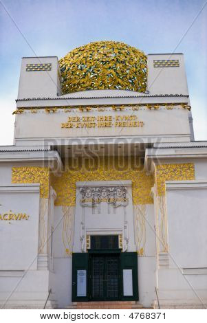 the vienna secession is located in the first district of vienna near karlsplatz and ringstrasse. it was known as the union of austrian artists. it was founded in 1897 by gustav klimt koloman moster josef hoffmann joseph maria olbrich max kruzweil otto wag stock photo