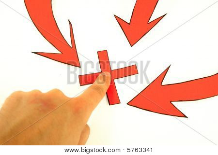 Hand is pointing on a place in flow chart, what represents a strategic goal in a company stock photo