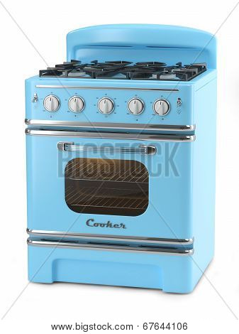 Blue Retro Stove-Mini Fridge Magnet Skin (size 20x31)