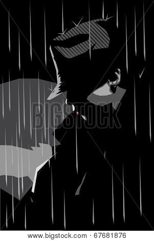 Vector illustration of a girl in a jacket and hat with rainy background, noir style
