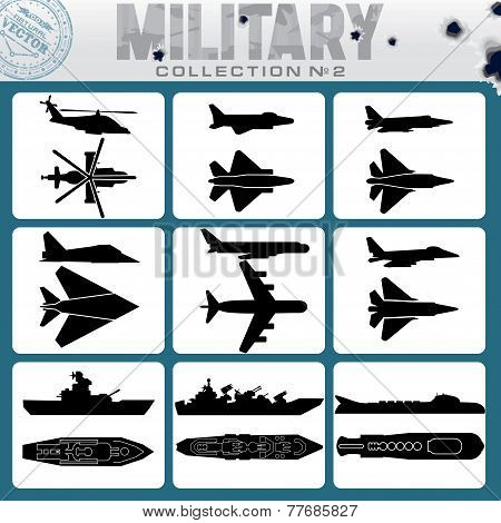 Military Planes and Warships. Vector Icon Set stock photo