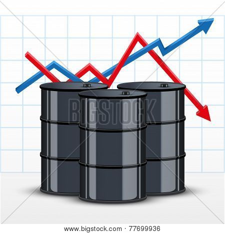 Oil barrel on the background graphics prices. The rise in price and cheaper petroleum. Vector Illustration. stock photo