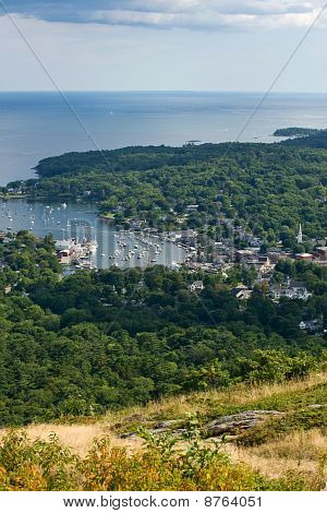 View of Camden harbor from the top of the mountain stock photo