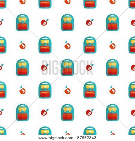 Seamless pattern with backpack and apple vector background, stock photo