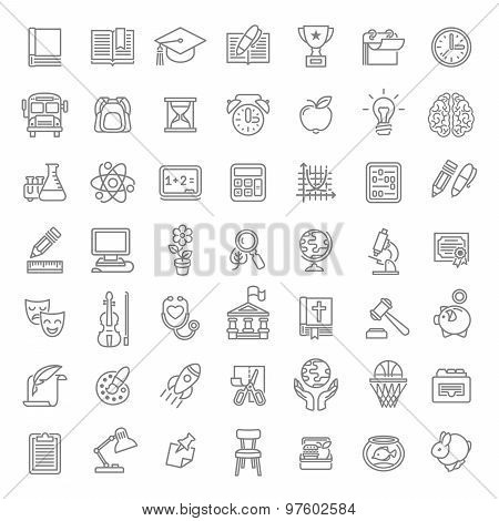 Flat Line Art School Subjects Icons