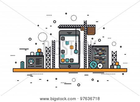 Thin line flat design of mobile apps construction site smartphone user interface building process api coding for phone application. Modern vector illustration concept isolated on white background. stock photo