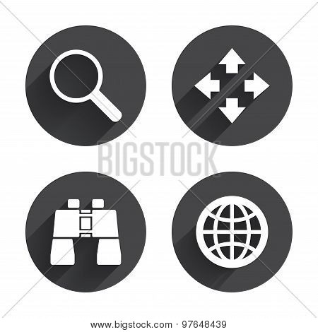 Magnifier glass and globe search icons. Fullscreen arrows and binocular search sign symbols. Circles buttons with long flat shadow. Vector stock photo