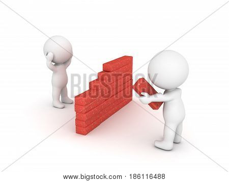 3D Character building a wall to isolate himself from others. Image depicting the concept of being a recluse stock photo
