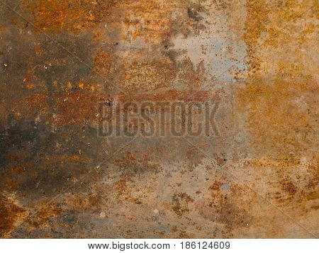 Aged rusted metallic background with spots and motes stock photo