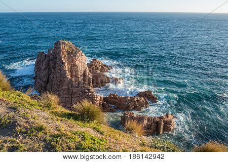 The Pinnacles rock from Cape Woolamai lookout at Phillip Island, Melbourne, Australia. stock photo