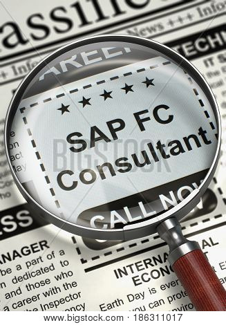 Newspaper with Searching Job SAP FC Consultant. SAP FC Consultant. Newspaper with the Jobs Section Vacancy. Concept of Recruitment. Selective focus. 3D Rendering. stock photo