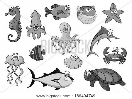 Cartoon sea and ocean animals. Vector icons of seahorse and squid, octopus and flounder, starfish and jellyfish. Exotic clown fish and tuna, crab or lobster and shell mollusk, turtle and swordfish stock photo