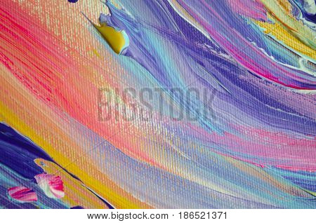 Hand drawn acrylic painting. Abstract art background. Acrylic painting on canvas. Color texture. Fragment of artwork. Brushstrokes of paint. Modern art. Contemporary art. Colorful canvas. Close up. stock photo