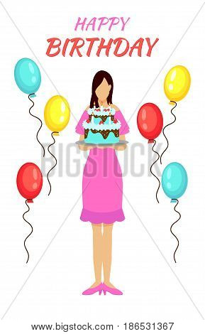 Birthday party greeting concept with woman wearing pink dress holding festive pie and colorful balloons vector illustration
