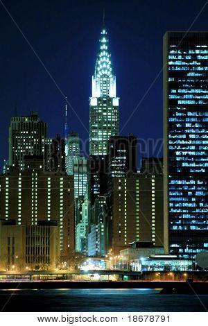 Midtown Manhattan skyline at Night, New York City-Lg Fridge Magnet Skin (size 36x65)