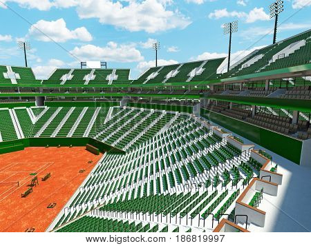 3d render of beautiful modern tennis clay court grand slam lookalike stadium with green seats for fifteen thousand fans stock photo