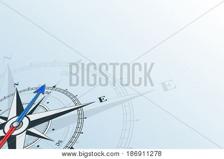 Compass northeast. Compass with wind rose, the arrow points to the northeast. Compass on a blue background. Compass illustrations can be used as background stock photo