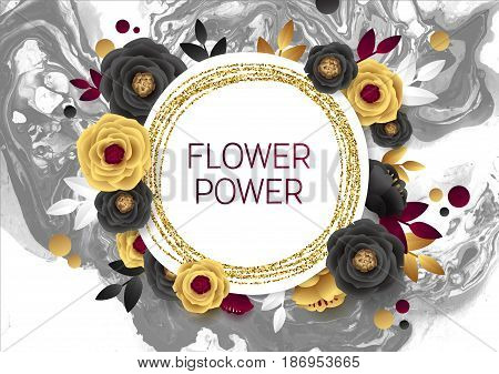 Rose Flower Poster Design. Grey Marble Texture Card. Shimmer Golden Banner Template. Vector Illustration Gold Foil Glitter Frame.