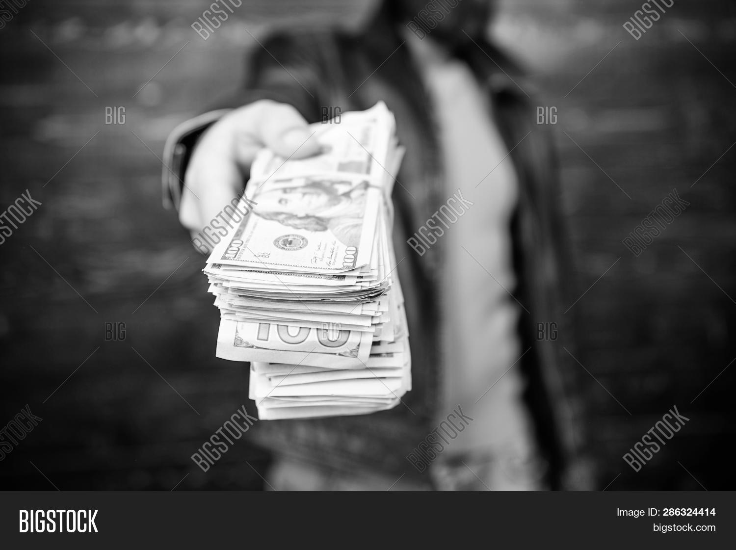 Illegal Profit And Black Cash. Guy Mafia Dealer With Cash Profit. Brutal Man Has Cash Money. Richnes