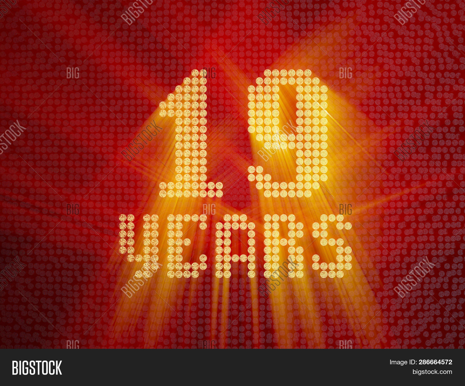 Golden Number Nineteen Years (number 19 Years) Dotted Font, Top View, With Light Rays. 3d Render