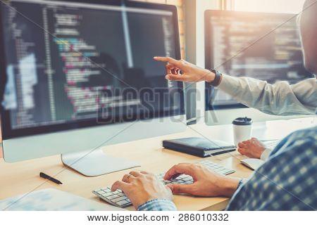 Developing Programmer Team Development Website Design And Coding Technologies Working In Software Co