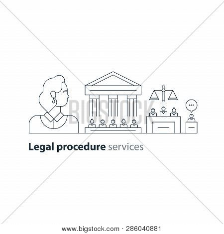 Law services and public notary concept icon set. Court house trial case, woman. Flat design vector illustration stock photo